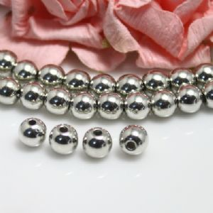 Beads, Imitation Metal Beads, Acrylic, Silver colour, Spherical, Diameter 6mm, 12g, 100 Beads, [SLZ0576]